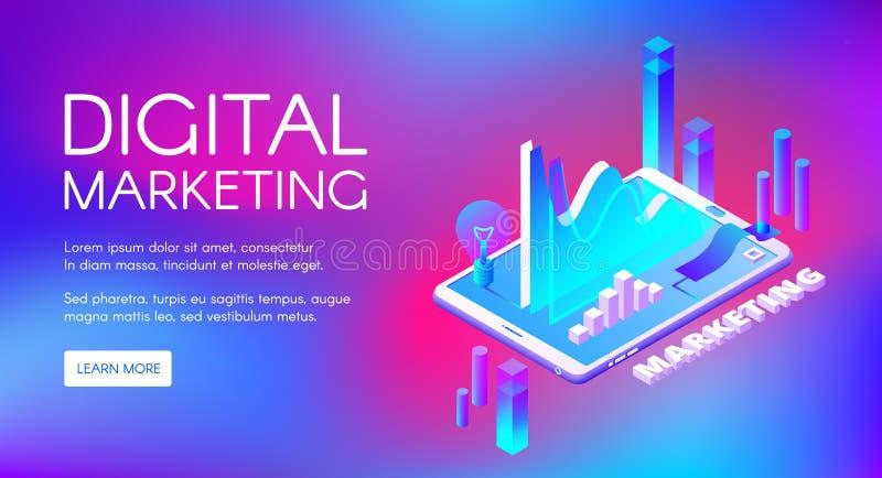 Illustration för vektor för Digital marknadsföring isometrisk royaltyfri illustrationer