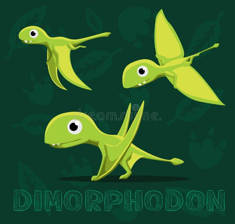 Illustration för vektor för dinosaurieDimorphodon tecknad film royaltyfri illustrationer
