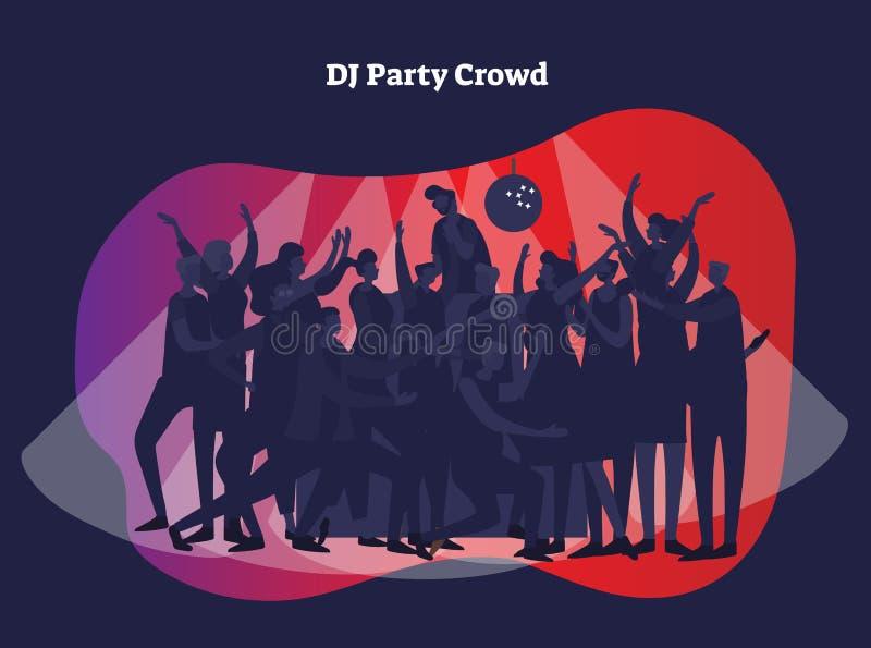 Illustration för vektor för discjockeypartifolkmassa Vuxna vänner och par som tycker om liv, klubban, beröm och aktivunderhållnin vektor illustrationer
