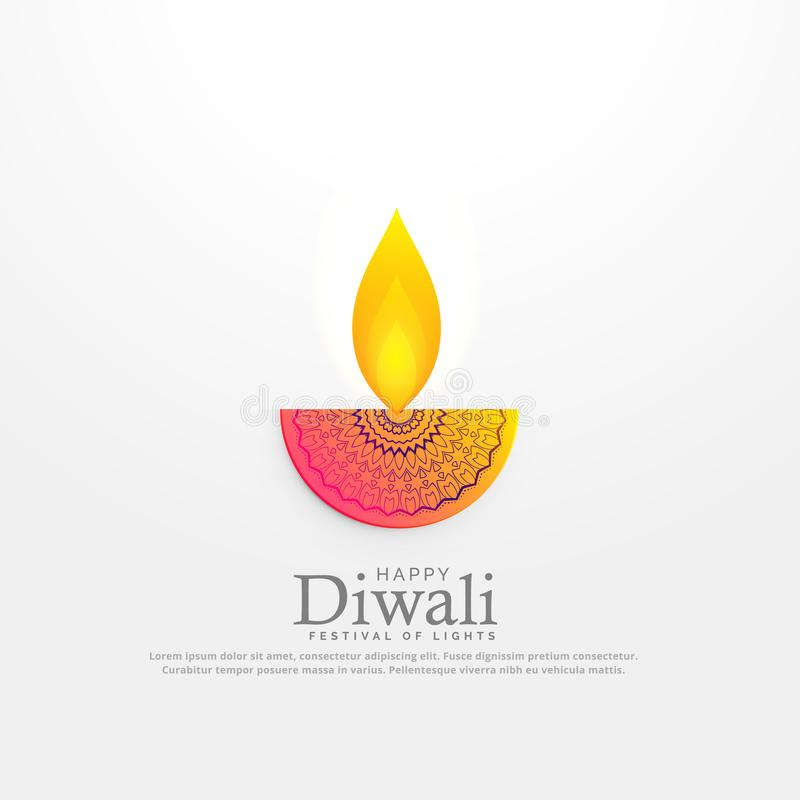 Illustration för vektor för Diwali festivaldiya i blom- deocration stock illustrationer