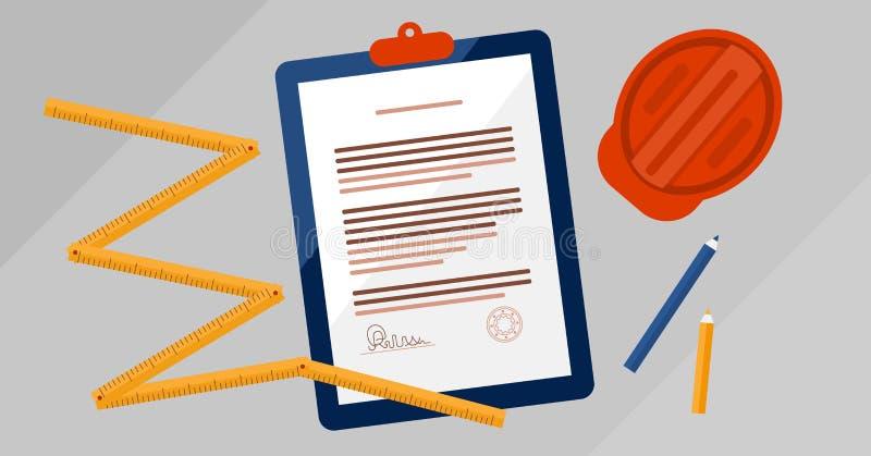 Illustration för vektor för dokument för leverantörlicensöverenskommelse undertecknad Laglig dokumentation för fastighetkonstrukt stock illustrationer