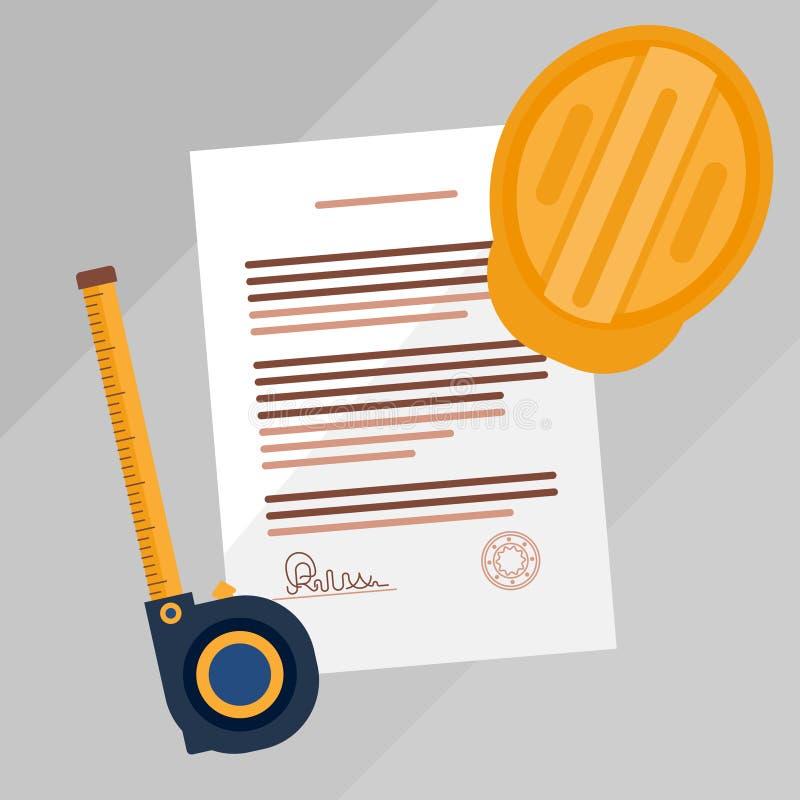 Illustration för vektor för dokument för leverantörlicensöverenskommelse undertecknad Laglig dokumentation för fastighetkonstrukt royaltyfri illustrationer