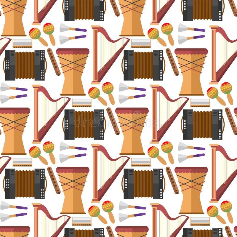 Illustration för vektor för elektrisk gitarr för instrument för tappning för utrustning för sömlös bakgrund för modell för musikp royaltyfri illustrationer