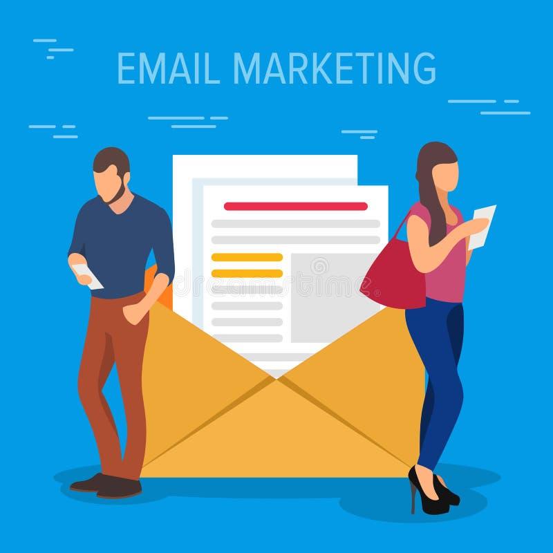 Illustration för vektor för Emailmarknadsföringsbegrepp Affärsfolk som använder apparater som står nära ett stort öppet brev med stock illustrationer