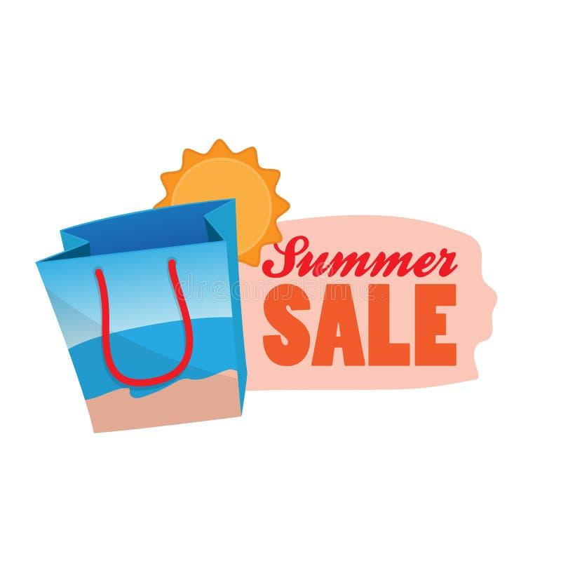Illustration för vektor för emblem för sommarförsäljningslogo symbol för strandshoppingpåse med etiketttextdesign vektor illustrationer