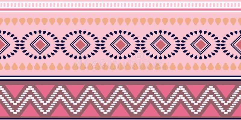 Illustration för vektor för färgrik för afrikan som stam- etnisk sömlös för modell bohemisk aztec bakgrund för modeller abstrakt  royaltyfri illustrationer