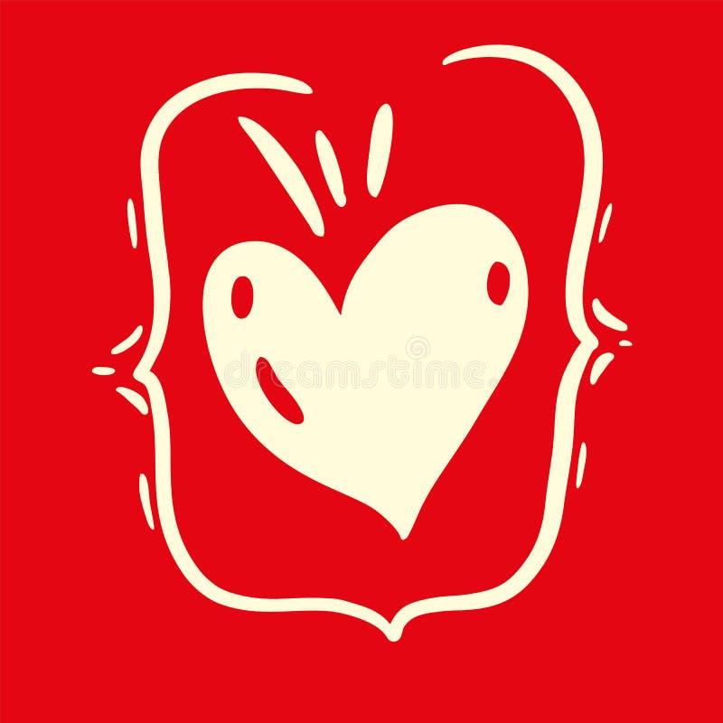 Illustration för vektor för förälskelsehjärtahand utdragen lyckliga valentiner för kortdag isolerat royaltyfri illustrationer