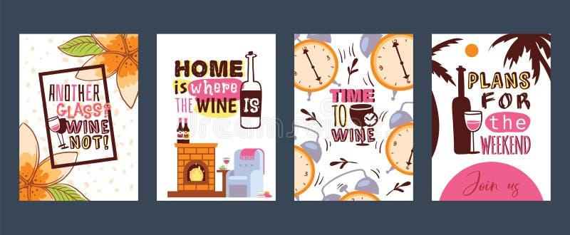 Illustration för vektor för förälskelsevinkort Ett annat exponeringsglas därför inte hem- är var vinet Tid till vin Plan för helg vektor illustrationer
