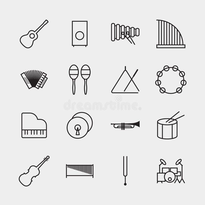 Illustration för vektor för översikt för symboler för musikinstrument royaltyfri illustrationer