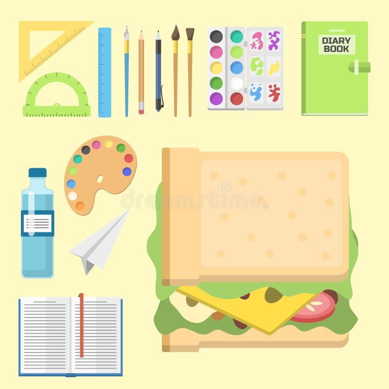 Illustration för vektor för anteckningsbok för student för barn för skolatillförsel stationär bildande åtföljande stock illustrationer