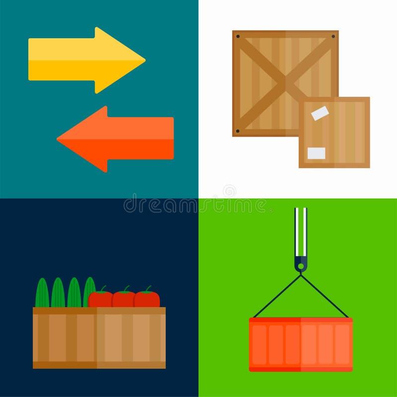 Illustration för vektor för ask för importexportfrukter royaltyfri illustrationer