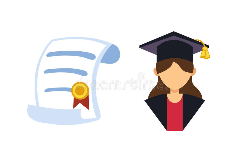 Illustration för vektor för avatar för avläggande av examenkvinnakontur enhetlig Tecken för framgång för studentutbildningshögsko stock illustrationer