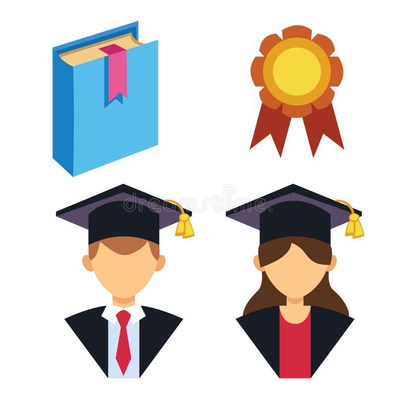 Illustration för vektor för avatar för avläggande av examenman- och kvinnakontur enhetlig Tecken för framgång för studentutbildni royaltyfri illustrationer