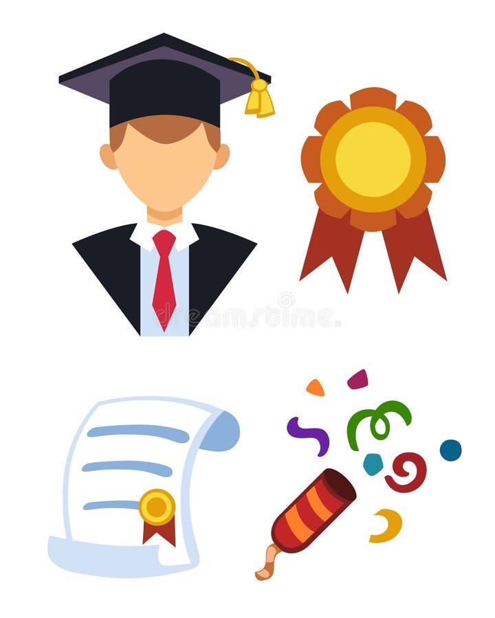 Illustration för vektor för avatar för avläggande av examenmankontur enhetlig Tecken för framgång för studentutbildningshögskola  stock illustrationer