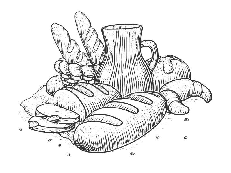 Illustration för vektor för bageriproduktstilleben royaltyfri illustrationer