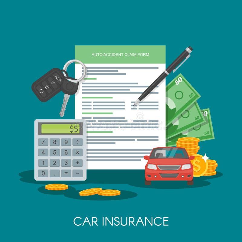 Illustration för vektor för begrepp för form för bilförsäkring Auto tangenter, bil, räknemaskin och pengar royaltyfri illustrationer