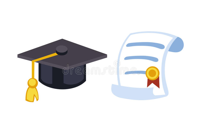 Illustration för vektor för beröm för symbol för hatt för avläggande av examenlockdiplom Symbol för ceremoni för universitetskola royaltyfri illustrationer