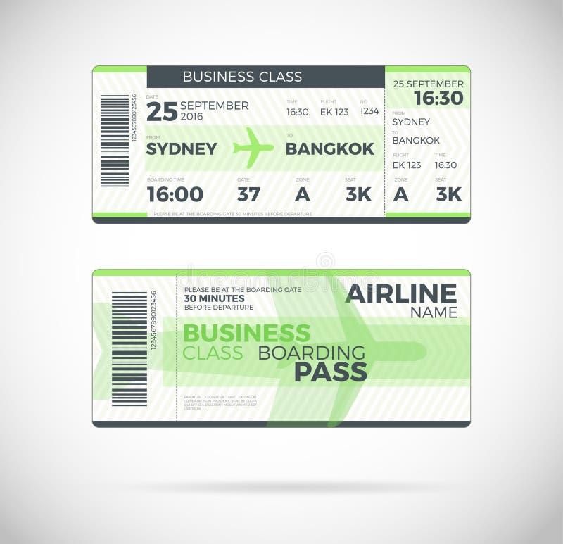 Illustration för vektor för biljett för flygbolaglogipasserande stock illustrationer