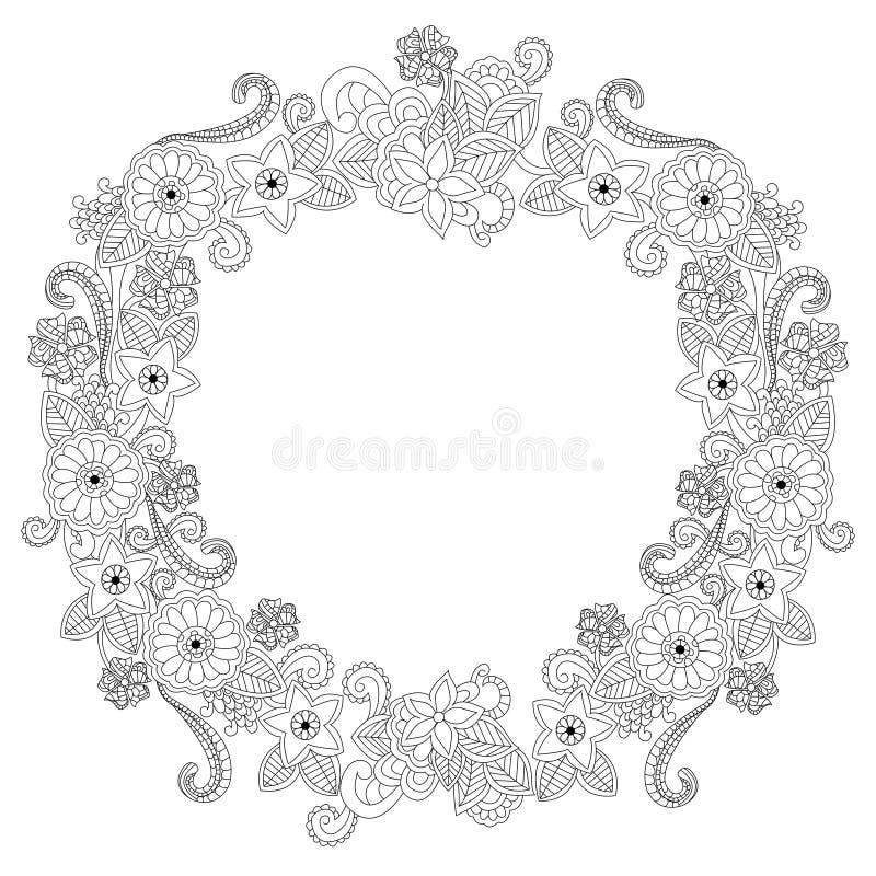 Illustration för vektor för bok för färgläggning för blommaram oval royaltyfri illustrationer