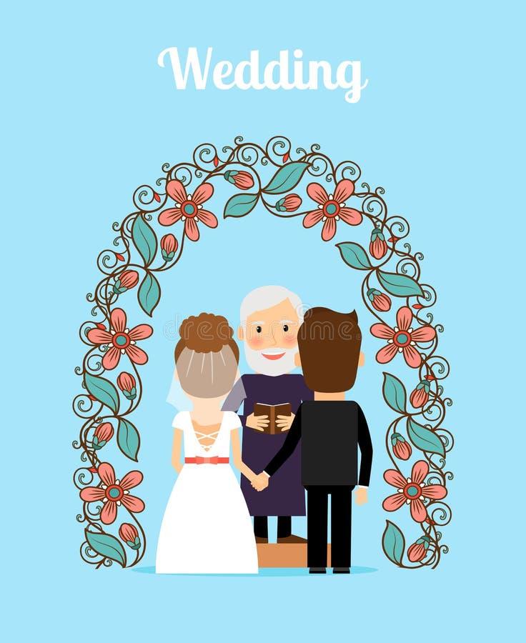 Illustration för vektor för bröllopceremoni vektor illustrationer