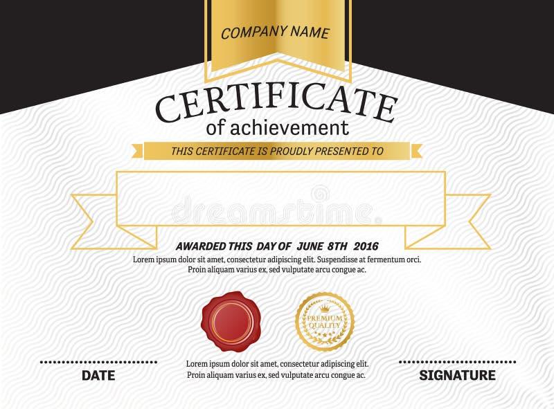 Illustration för vektor för certifikatdiplommall royaltyfri illustrationer