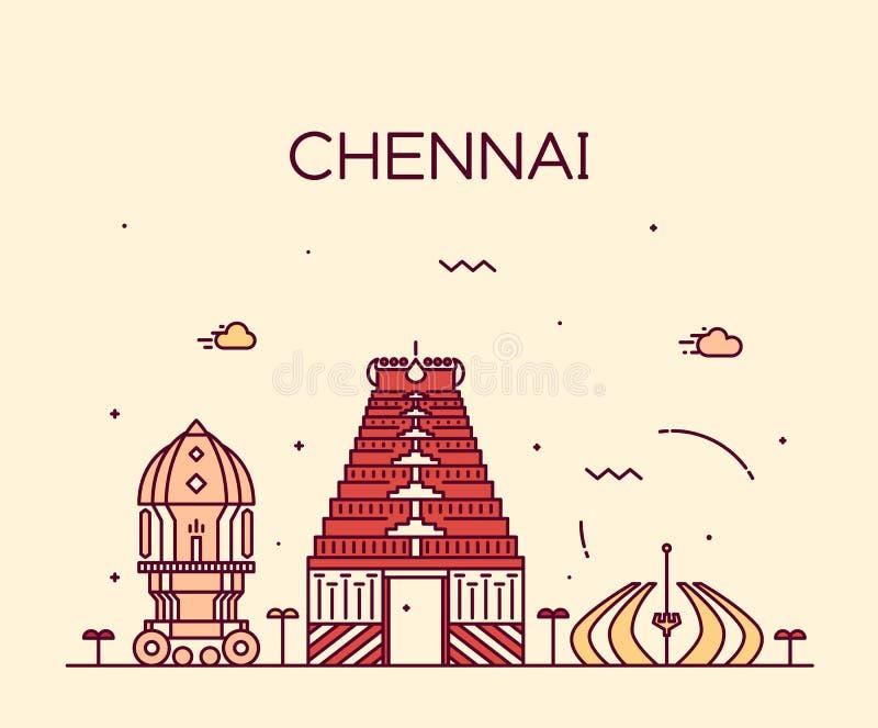 Illustration för vektor för Chennai horisont linjär moderiktig vektor illustrationer