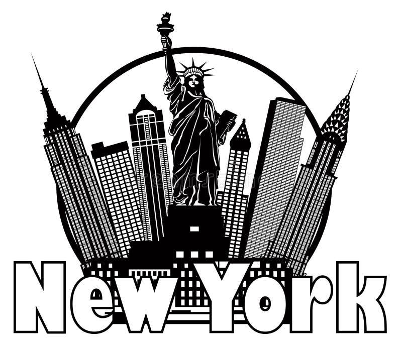 Illustration för vektor för cirkel för New York City horisont svartvit royaltyfri illustrationer