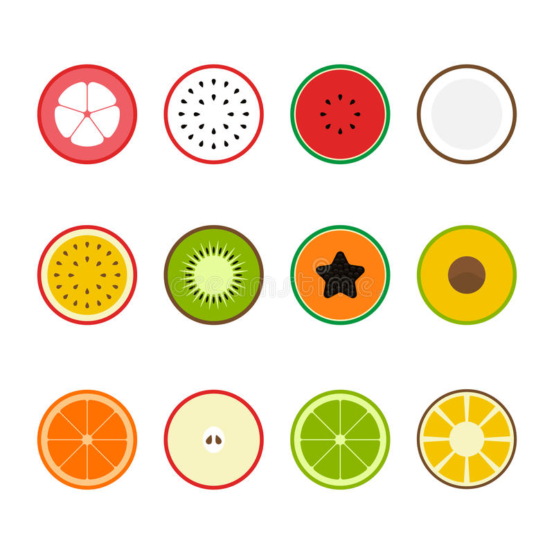 Download Illustration För Vektor För Design För Lägenhet För Fruktsymbolsuppsättning Vektor Illustrationer - Illustration av skiva, papaya: 78726473