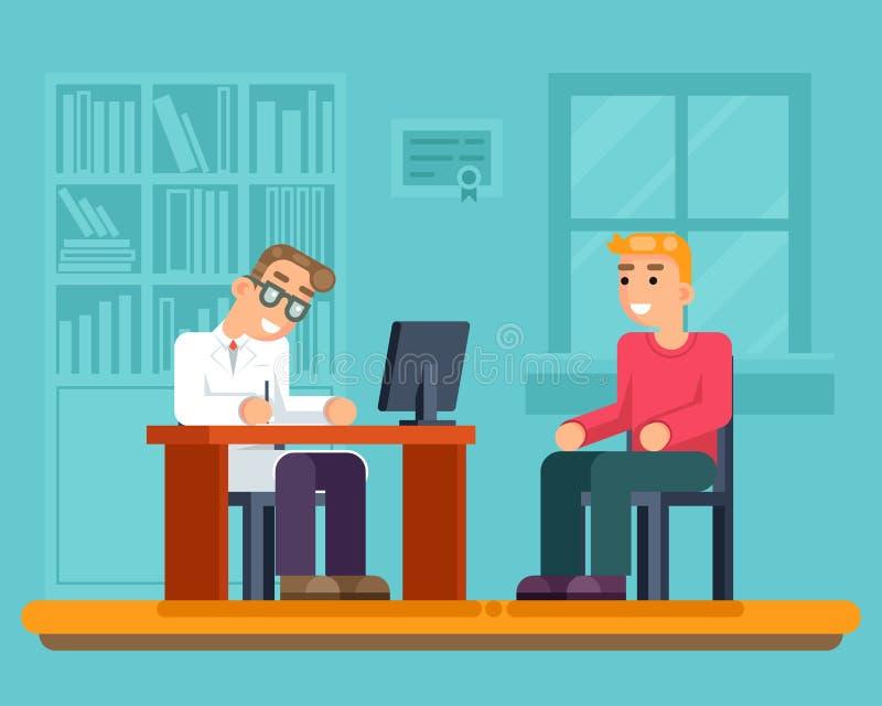 Illustration för vektor för design för lägenhet för patient för medicinsk service för mottagandedoktorssjukhus kabinett sjuk stock illustrationer