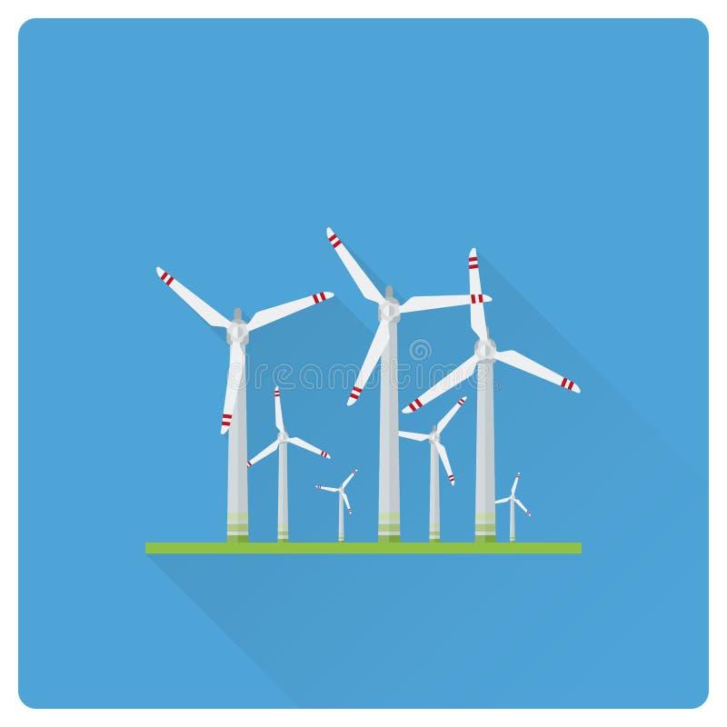 Illustration för vektor för design för lägenhet för vindenergiväxt stock illustrationer