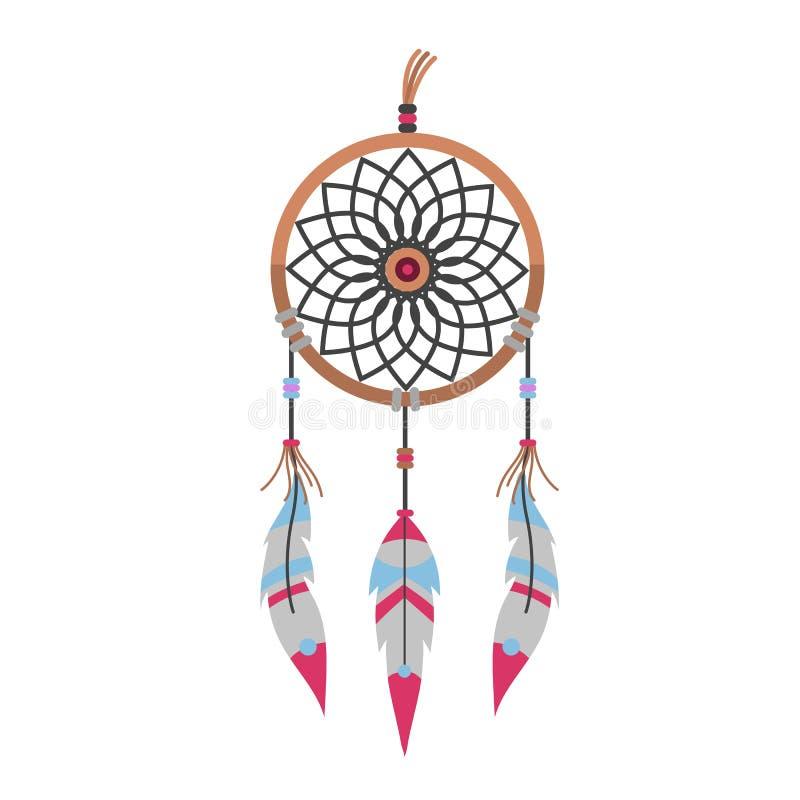 Illustration för vektor för design för stam- för dreamcatcherboho för garnering bohemisk för fjädrar dröm för inföding chic stock illustrationer