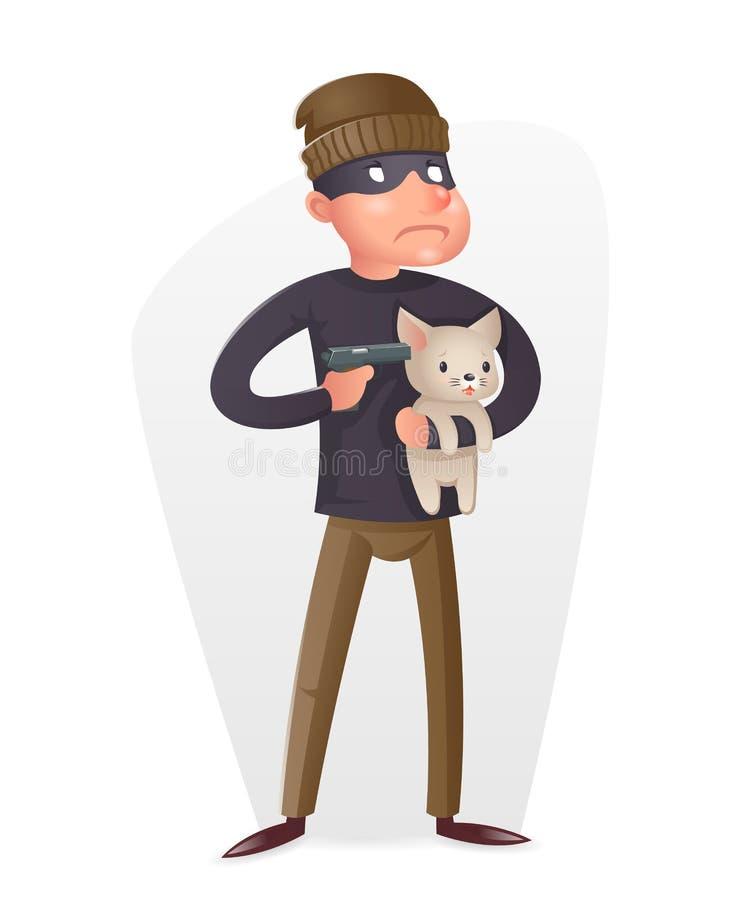 Illustration för vektor för design för tecknad film för brottslig för tjuvGun Hostage Character brotts- hot uppköps- symbol för f royaltyfri illustrationer