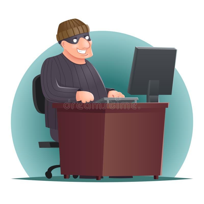 Illustration för vektor för design för tecknad film för brottslig tjuvComputer Table Character för en hacker vuxen online-symbol  stock illustrationer