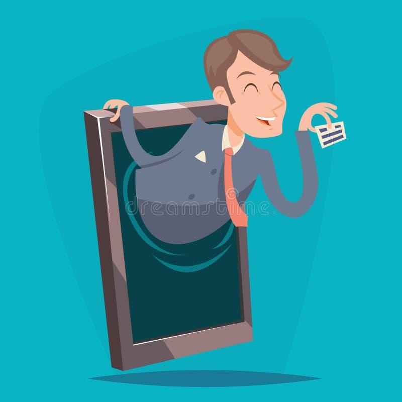 Illustration för vektor för design för tecknad film för tappning för annonsering för affärsmanmedelOnline Mobile Phone presentati royaltyfri illustrationer