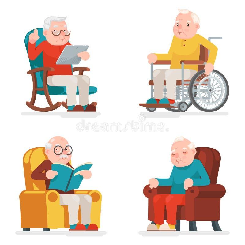 Illustration för vektor för design för tecknad film för vuxna symboler för rullstol för gamal manteckenSit Sleep Web Surfing Read stock illustrationer