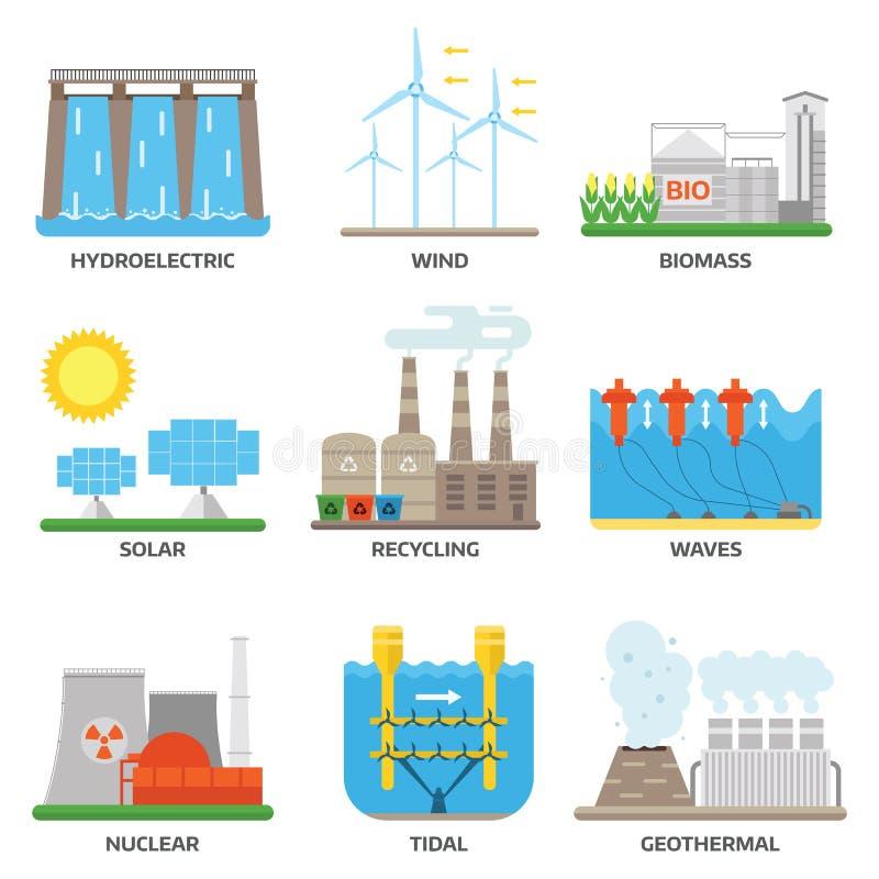 Illustration för vektor för energikällor stock illustrationer