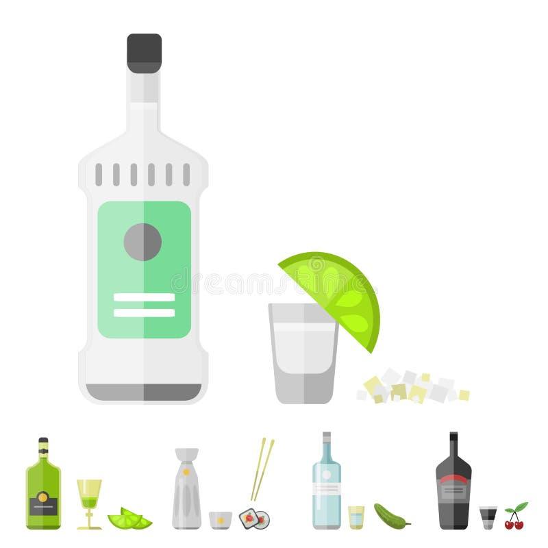 Illustration för vektor för exponeringsglas för mellanmål för lager för flaska för aptitretare för coctail för alkoholdrinkdrycke royaltyfri illustrationer