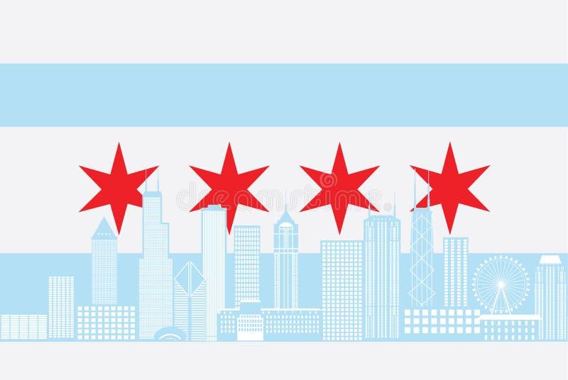 Illustration för vektor för färg för flagga för Chicago stadshorisont royaltyfri illustrationer