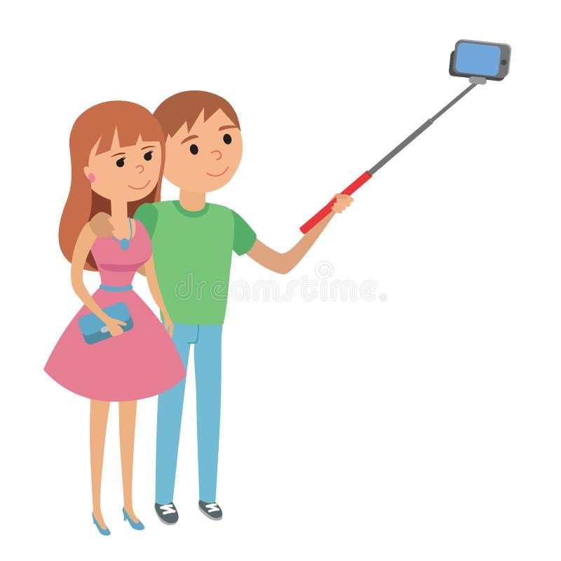 Illustration för vektor för för Selfie parman och kvinna royaltyfri illustrationer