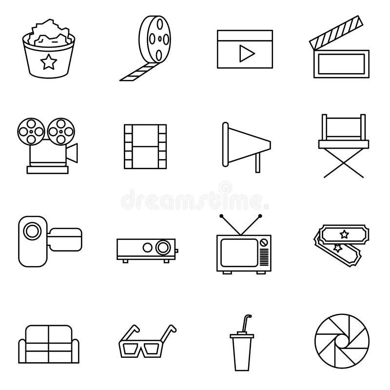 Illustration för vektor för film- och filmsymboler fastställd royaltyfri illustrationer