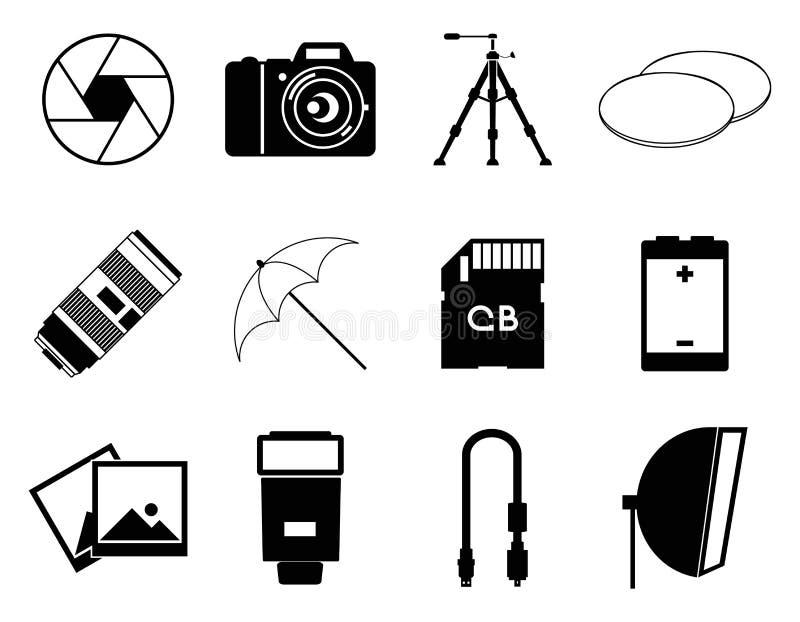 Illustration för vektor för fotosymbolstillbehör fastställd royaltyfri illustrationer