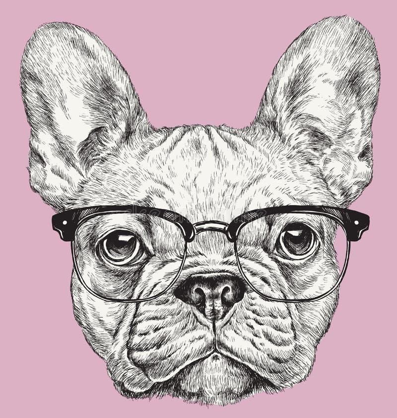 Illustration för vektor för fransk bulldogg för HipsterGeek royaltyfri illustrationer