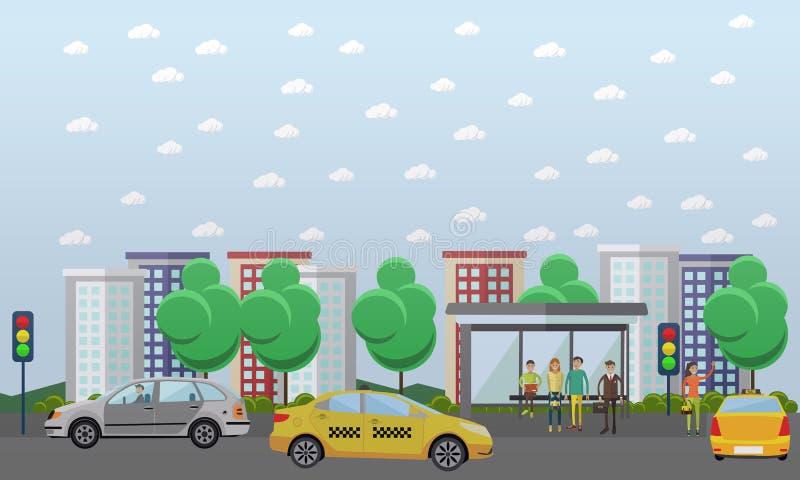 Illustration för vektor för gatatrafikbegrepp, lägenhetdesign royaltyfri illustrationer