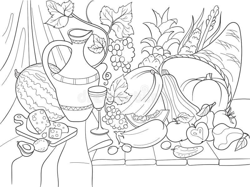 Illustration för vektor för grönsak- och fruktskördstil Tacksägelsedagstilleben Gammal gravyrefterföljd stock illustrationer