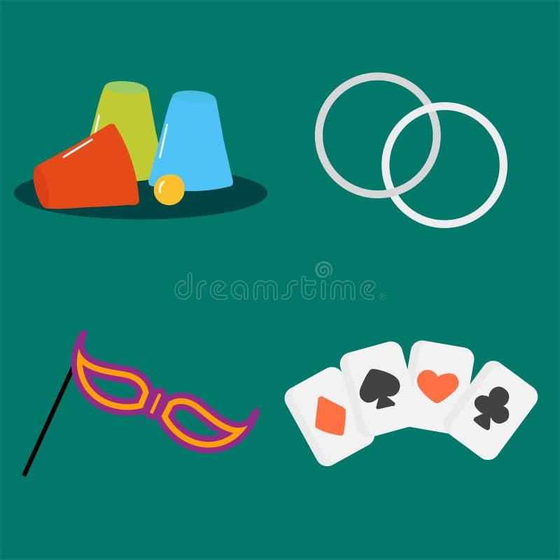 Illustration för vektor för grafisk teckning för skämtsamt symbol för hasardspelare för stil för konst för kort för trollkarlhjäl stock illustrationer