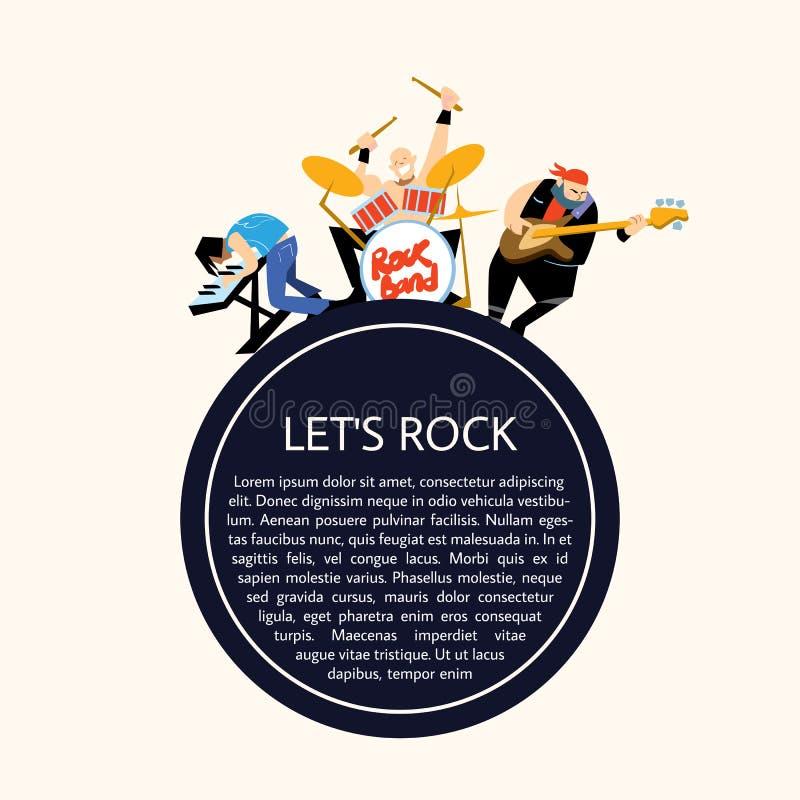 Illustration för vektor för grupp för rockbandmusik royaltyfri illustrationer