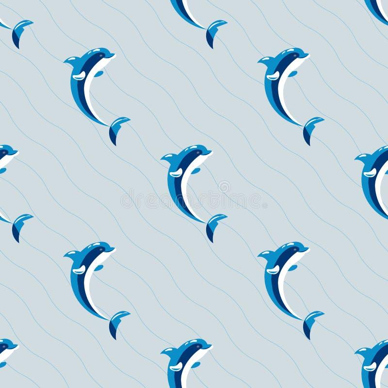 Illustration för vektor för gulligt för naturhav för delfin vatten- marin- sömlöst för modell däggdjurs- för hav djurliv för vatt vektor illustrationer