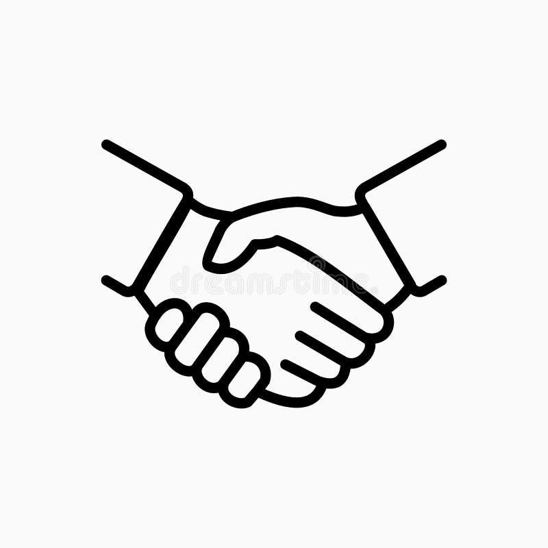 Illustration för vektor för handskakningsymbol enkel Avtalet eller partnern instämmer royaltyfri illustrationer