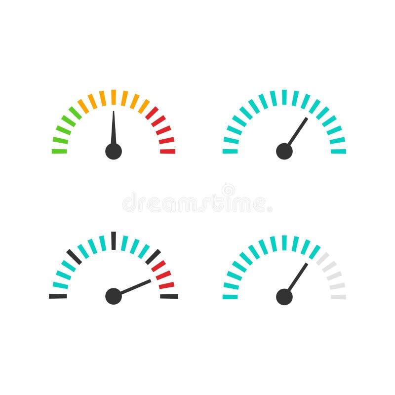 Illustration för vektor för hastighetsmätaresymbolsuppsättning, hastighetskontrollåtgärd beståndsdel stock illustrationer