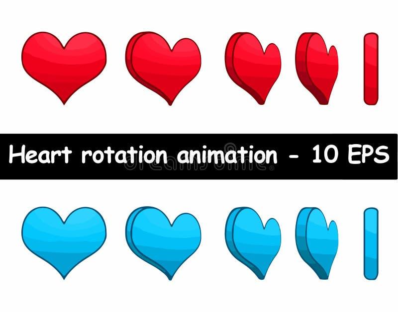 Illustration för vektor för hjärtarotationsanimering stock illustrationer